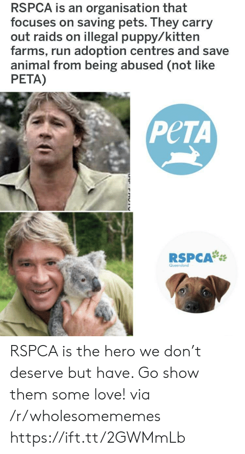 Rspca: RSPCA is an organisation that  focuses on saving pets. They carry  out raids on illegal puppy/kitten  farms, run adoption centres and save  animal from being abused (not like  PETA)  PeTA  RSPCA RSPCA is the hero we don't deserve but have. Go show them some love! via /r/wholesomememes https://ift.tt/2GWMmLb