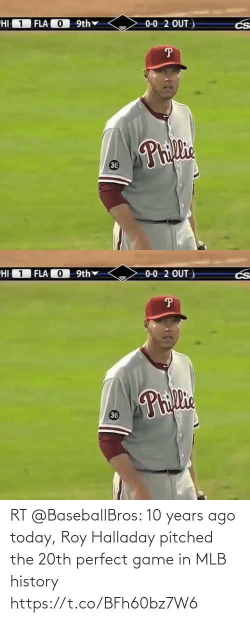 MLB: RT @BaseballBros: 10 years ago today, Roy Halladay pitched the 20th perfect game in MLB history https://t.co/BFh60bz7W6