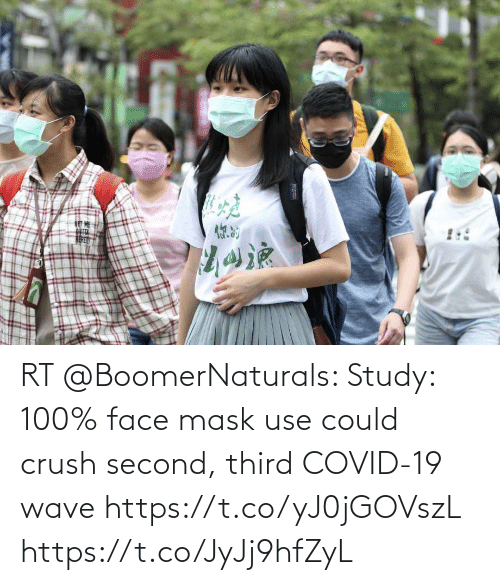 use: RT @BoomerNaturals: Study: 100% face mask use could crush second, third COVID-19 wave https://t.co/yJ0jGOVszL https://t.co/JyJj9hfZyL