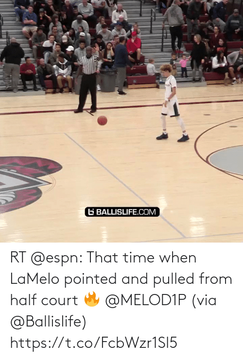 court: RT @espn: That time when LaMelo pointed and pulled from half court 🔥 @MELOD1P   (via @Ballislife)  https://t.co/FcbWzr1Sl5