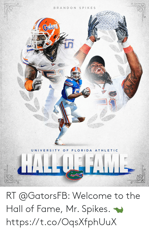 fame: RT @GatorsFB: Welcome to the Hall of Fame, Mr. Spikes. 🐊 https://t.co/OqsXfphUuX
