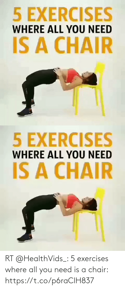 Chair: RT @HealthVids_: 5 exercises where all you need is a chair: https://t.co/p6raClH837