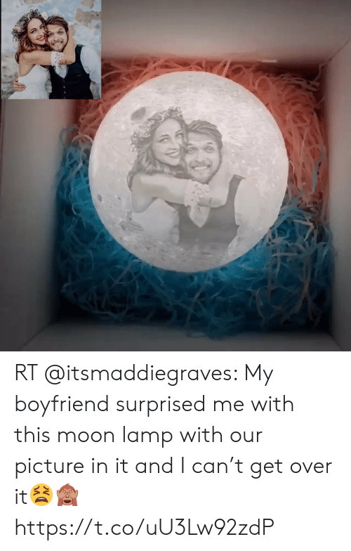 Moon, Boyfriend, and Can: RT @itsmaddiegraves: My boyfriend surprised me with this moon lamp with our picture in it and I can't get over it😫🙈 https://t.co/uU3Lw92zdP