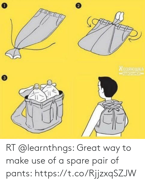 use: RT @learnthngs: Great way to make use of a spare pair of pants: https://t.co/RjjzxqSZJW