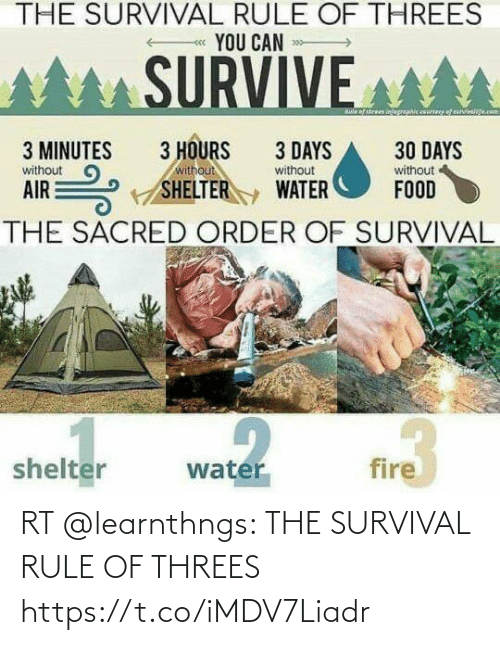survival: RT @learnthngs: THE SURVIVAL RULE OF THREES https://t.co/iMDV7Liadr