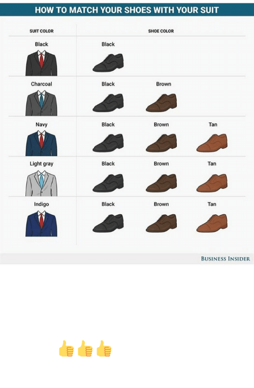 Match: RT @mensessentiaI: How to match your shoes with your suit . Guide for your Outfit Guys 👍👍👍 https://t.co/f9KLYm470e