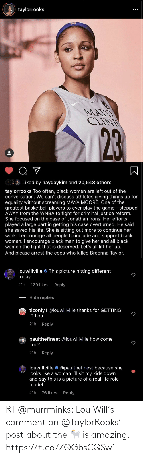 comment: RT @murrminks: Lou Will's comment on @TaylorRooks' post about the 🐐 is amazing. https://t.co/ZQGbsCQSw1