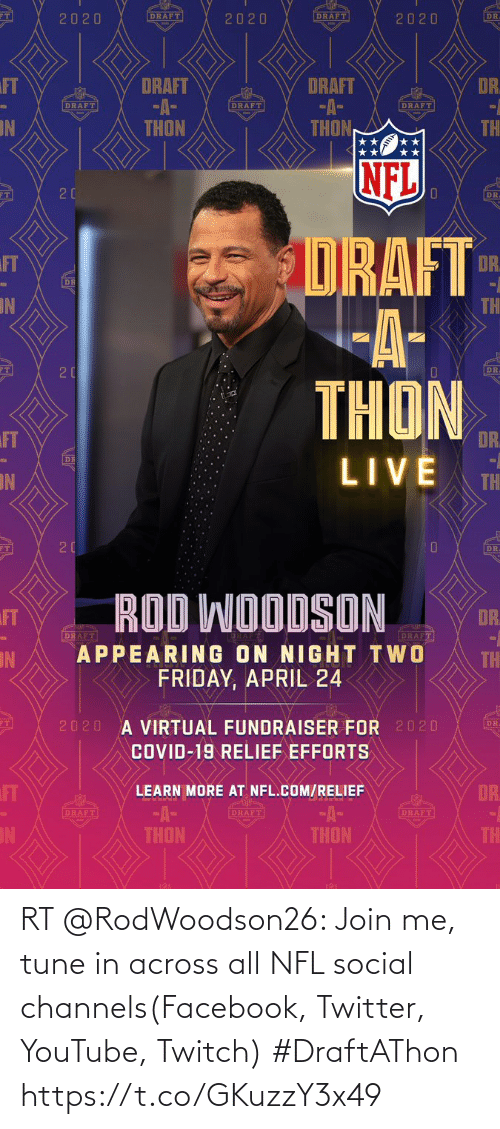 join.me: RT @RodWoodson26: Join me, tune in across all NFL social channels(Facebook, Twitter, YouTube, Twitch) #DraftAThon https://t.co/GKuzzY3x49