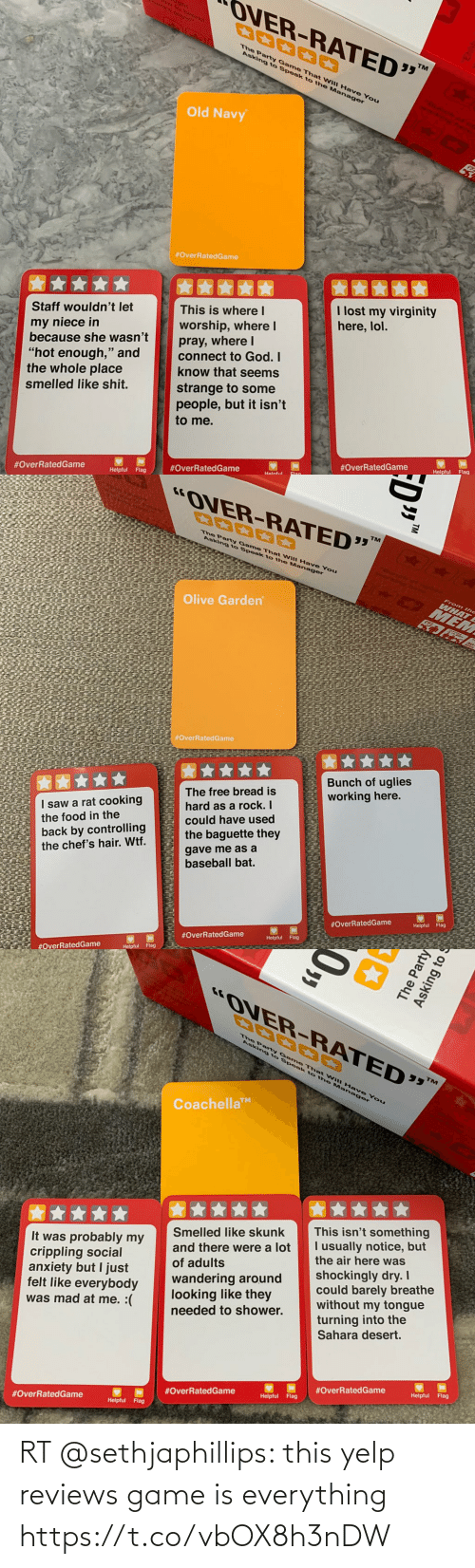 Reviews: RT @sethjaphillips: this yelp reviews game is everything https://t.co/vbOX8h3nDW