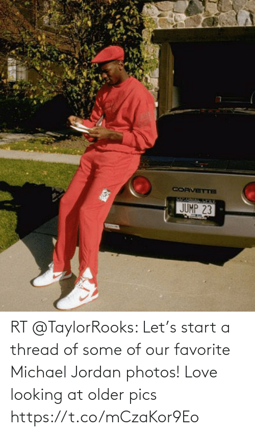 start a: RT @TaylorRooks: Let's start a thread of some of our favorite Michael Jordan photos! Love looking at older pics https://t.co/mCzaKor9Eo