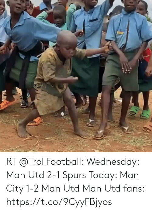 Soccer, Spurs, and Today: RT @TrollFootball: Wednesday: Man Utd 2-1 Spurs   Today: Man City 1-2 Man Utd  Man Utd fans:  https://t.co/9CyyFBjyos
