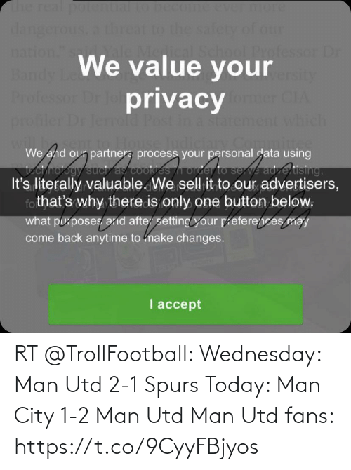 Memes, Spurs, and Today: RT @TrollFootball: Wednesday: Man Utd 2-1 Spurs   Today: Man City 1-2 Man Utd  Man Utd fans:  https://t.co/9CyyFBjyos