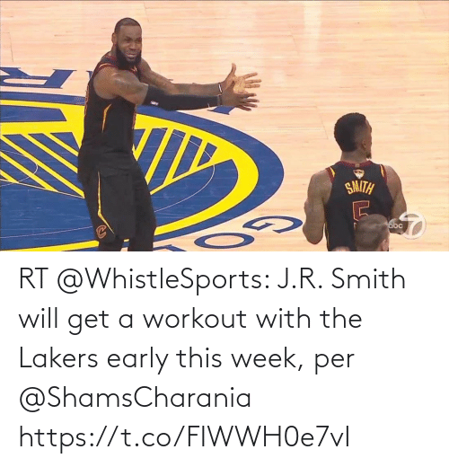 J R Smith: RT @WhistleSports: J.R. Smith will get a workout with the Lakers early this week, per @ShamsCharania https://t.co/FIWWH0e7vI