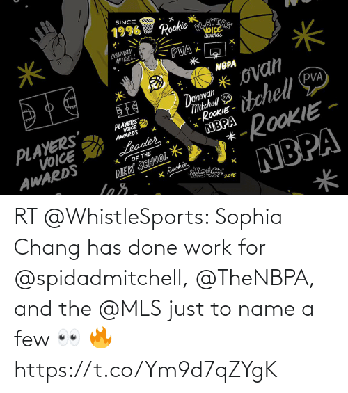 A Few: RT @WhistleSports: Sophia Chang has done work for @spidadmitchell, @TheNBPA, and the @MLS just to name a few 👀 🔥 https://t.co/Ym9d7qZYgK