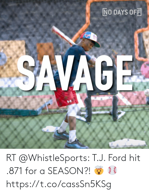 Ford: RT @WhistleSports: T.J. Ford hit .871 for a SEASON?! 🤯 ⚾️ https://t.co/cassSn5KSg