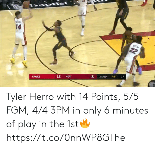 Hawks: rtist  14  22  17  7:57  8  1st Qtr  13  HEAT  HAWKS Tyler Herro with 14 Points, 5/5 FGM, 4/4 3PM in only 6 minutes of play in the 1st🔥 https://t.co/0nnWP8GThe