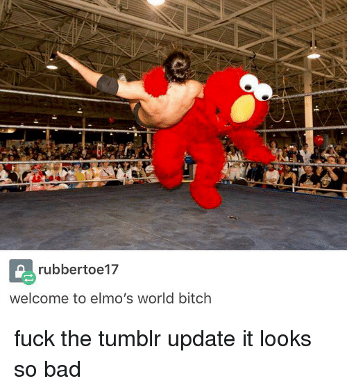 Bitches Fucked: rubbertoe17  welcome to elmo's world bitch fuck the tumblr update it looks so bad