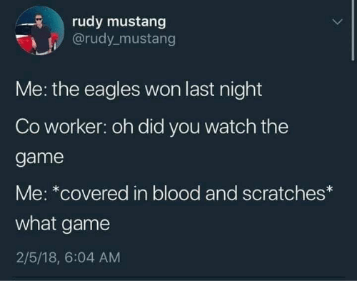 rudy: rudy mustang  @rudy mustang  Me: the eagles won last night  Co worker: oh did you watch the  game  Me: *covered in blood and scratches*  what game  2/5/18, 6:04 AM