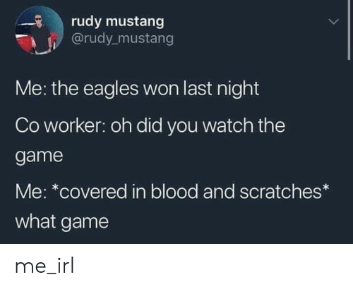 Covered: rudy mustang  @rudy mustang  Me: the eagles won last night  Co worker: oh did you watch the  game  Me: *covered in blood and scratches*  what game me_irl