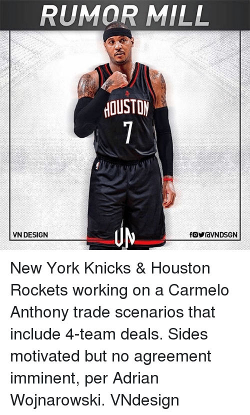 New York Knicks: RUMOR MILL  OUSTO  VN DESIGN New York Knicks & Houston Rockets working on a Carmelo Anthony trade scenarios that include 4-team deals. Sides motivated but no agreement imminent, per Adrian Wojnarowski. VNdesign