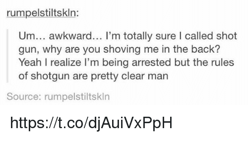 Guns, Yeah, and Awkward: rumpelstiltskln:  Um... awkward... I'm totally sure I called shot  gun, why are you shoving me in the back?  Yeah I realize I'm being arrested but the rules  of shotgun are pretty clear man  Source: rumpelstiltskln https://t.co/djAuiVxPpH