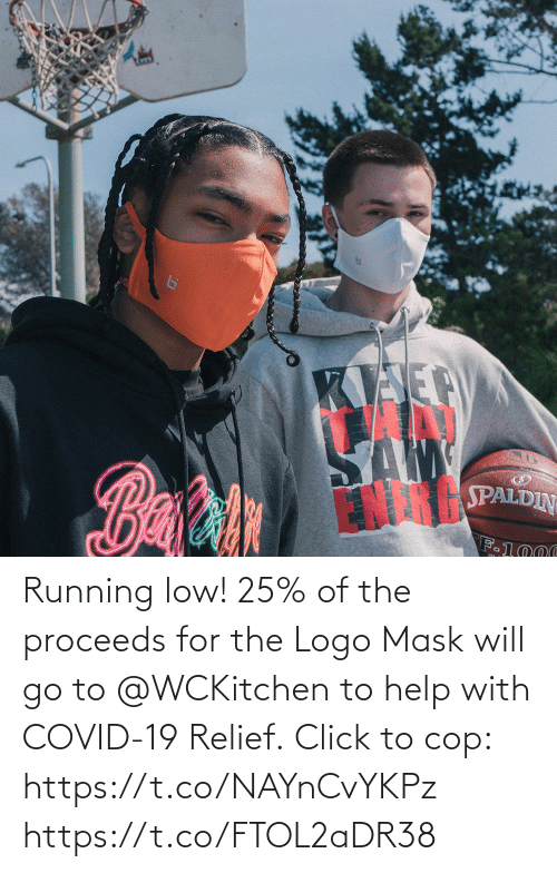 Low: Running low!  25% of the proceeds for the Logo Mask will go to @WCKitchen to help with COVID-19 Relief.  Click to cop: https://t.co/NAYnCvYKPz https://t.co/FTOL2aDR38