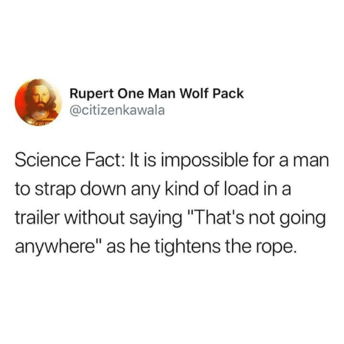 "rupert: Rupert One Man Wolf Pack  @citizenkawala  Science Fact: It is impossible for a man  to strap down any kind of load in a  trailer without saying ""That's not going  anywhere"" as he tightens the rope."
