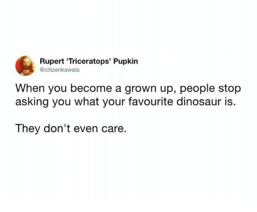rupert: Rupert 'Triceratops' Pupkin  @citizenkawala  When you become a grown up, people stop  asking you what your favourite dinosaur is.  The  y don't even care