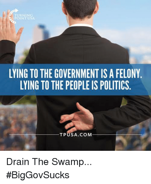 drain-the-swamp: rURNIN  LYING TO THE GOVERNMENT ISAFELONY.  LYING TO THE PEOPLE IS POLITICS  TPU SA COM Drain The Swamp... #BigGovSucks