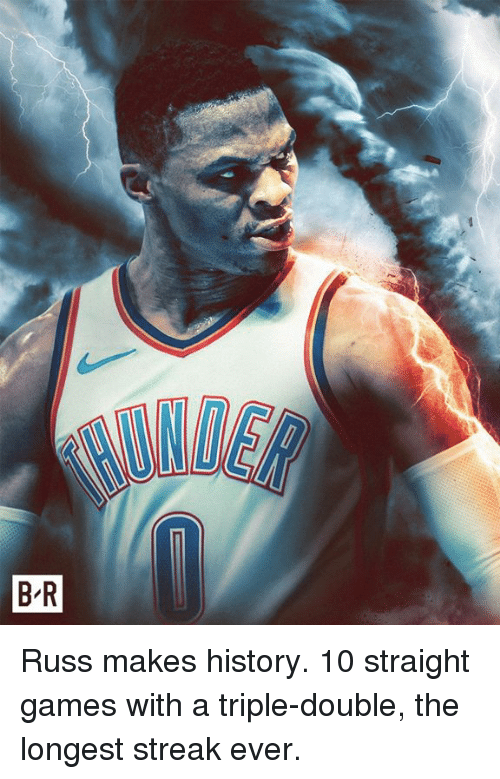 Games, History, and Double: Russ makes history. 10 straight games with a triple-double, the longest streak ever.