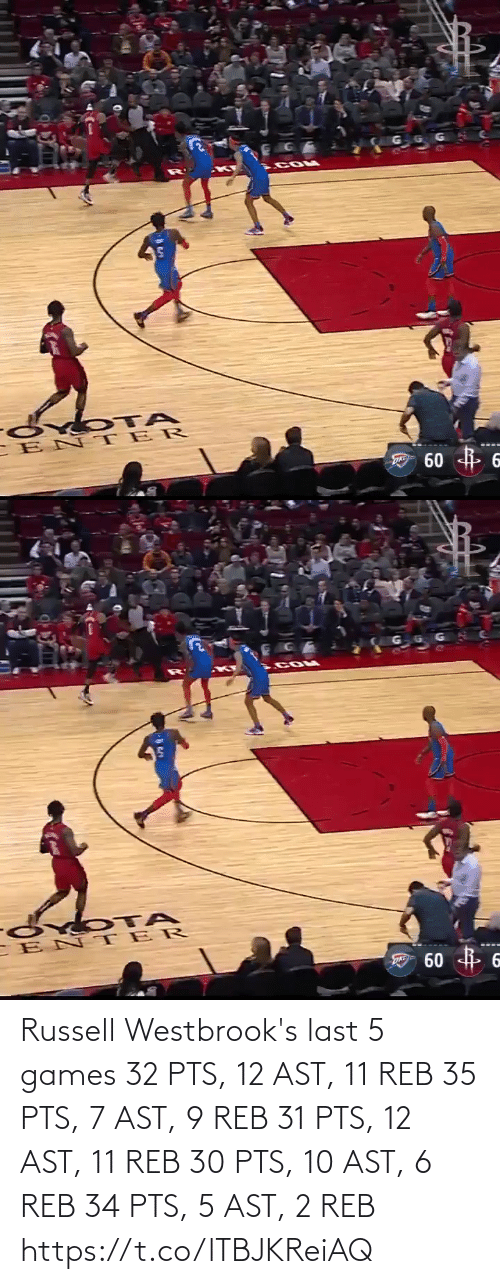 Games: Russell Westbrook's last 5 games  32 PTS, 12 AST, 11 REB 35 PTS, 7 AST, 9 REB 31 PTS, 12 AST, 11 REB 30 PTS, 10 AST, 6 REB 34 PTS,  5 AST, 2 REB   https://t.co/lTBJKReiAQ