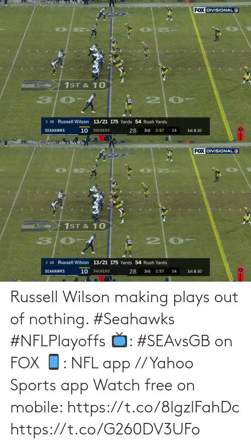 app: Russell Wilson making plays out of nothing. #Seahawks #NFLPlayoffs  📺: #SEAvsGB on FOX 📱: NFL app // Yahoo Sports app Watch free on mobile: https://t.co/8lgzlFahDc https://t.co/G260DV3UFo