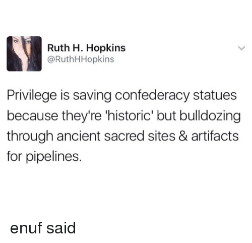 Confederacy: Ruth H. Hopkins  @RuthHHopkins  Privilege is saving confederacy statues  because they're 'historic' but bulldozing  through ancient sacred sites & artifacts  for pipelines. enuf said