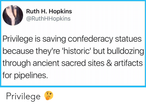 Confederacy: Ruth H. Hopkins  @RuthHHopkins  Privilege is saving confederacy statues  because they're 'historic' but bulldozing  through ancient sacred sites & artifacts  for pipelines. Privilege 🤔