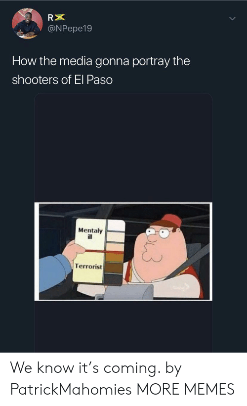 Shooters: RX  @NPepe19  How the media gonna portray the  shooters of El Paso  Mentaly  ill  Terrorist We know it's coming. by PatrickMahomies MORE MEMES