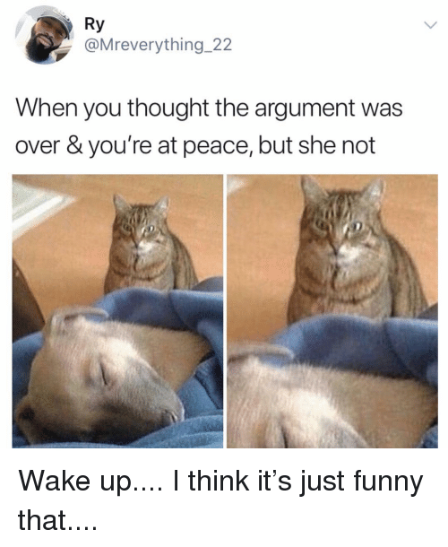 Funny, Memes, and Peace: Ry  @Mreverything 22  When you thought the argument was  over & you're at peace, but she not Wake up.... I think it's just funny that....