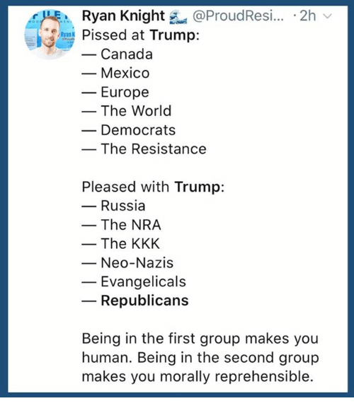 Kkk, Canada, and Mexico: Ryan Knight @ProudResi.. 2h  Pissed at Trump:  -Canada  - Mexico  ーEurope  - The World  Democrats  The Resistance  Pleased with Trump:  - Russia  -The NRA  - The KKK  Neo-Nazis  Evangelicals  Republicans  Being in the first group makes you  human. Being in the second group  makes you morally reprehensible.