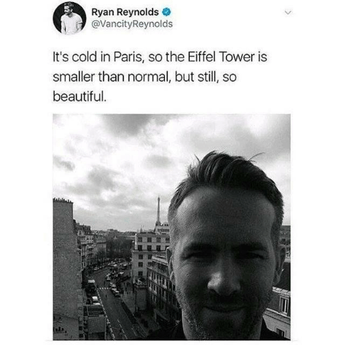 in paris: Ryan Reynolds  @VancityReynolds  It's cold in Paris, so the Eiffel Tower is  smaller than normal, but still, so  beautiful.