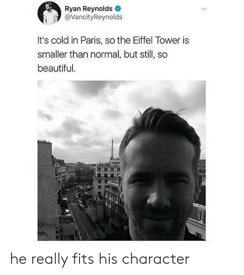 in paris: Ryan Reynolds  @VancityReynolds  It's cold in Paris, so the Eiffel Tower is  smaller than normal, but still, so  beautiful he really fits his character