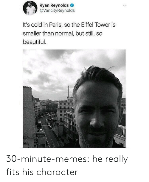 in paris: Ryan Reynolds  @VancityReynolds  It's cold in Paris, so the Eiffel Tower is  smaller than normal, but still, so  beautiful 30-minute-memes:  he really fits his character