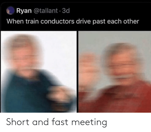 Train: Ryan @tallant 3d  When train conductors drive past each other Short and fast meeting