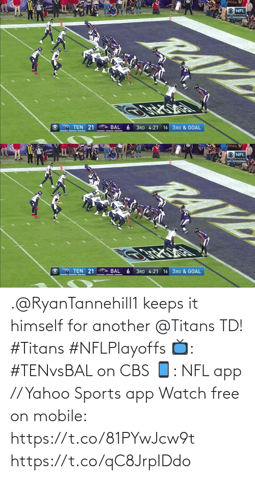 CBS: .@RyanTannehill1 keeps it himself for another @Titans TD! #Titans #NFLPlayoffs  📺: #TENvsBAL on CBS 📱: NFL app // Yahoo Sports app Watch free on mobile: https://t.co/81PYwJcw9t https://t.co/qC8JrpIDdo