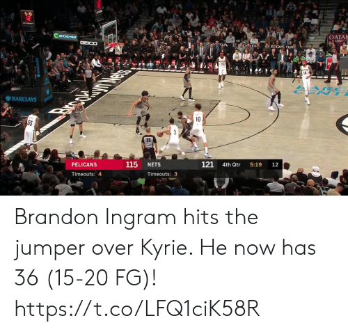 ent: S 19  12  BEYOND MEAT  OATA  AIRW  GEICO  DA  EON DA  11  14  ARC  ENT  BARCLAYS  BANCLAYS  Brpc  10  55  3  39  121  115  PELICANS  NETS  4th Qtr  5:19  12  Timeouts: 4  Timeouts: 3 Brandon Ingram hits the jumper over Kyrie. He now has 36 (15-20 FG)!  https://t.co/LFQ1ciK58R