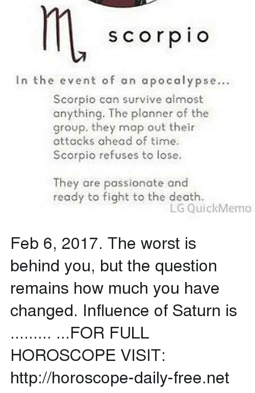 S C or P I O in the Event of an Apocalypse Scorpio Can