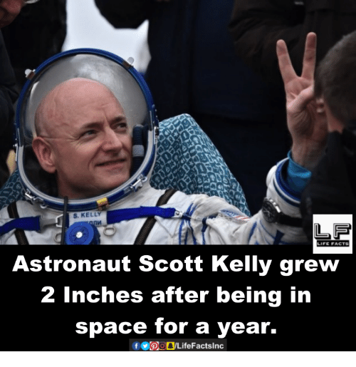 Memes, 🤖, and Inch: S. KELLY  LIFE FACTS  Astronaut Scott Kelly grew  2 inches after being in  space for a year.