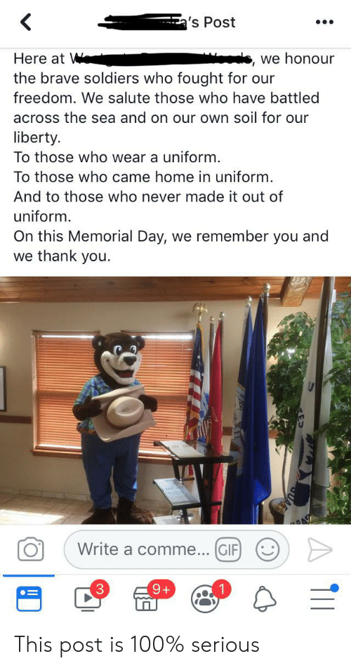Gif, Soldiers, and Thank You: 's Post  we honour  Here at W  the brave soldiers who fought for our  freedom. We salute those who have battled  across the sea and on our own soil for our  liberty.  To those who wear a uniform.  To those who came home in uniform.  And to those who never made it out of  uniform.  On this Memorial Day, we remember you and  we thank you.  Write a comme... GIF  9+  ) This post is 100% serious