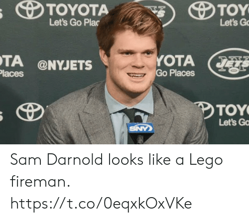 Lego, Sports, and Toyota: s TOYOTA  TOY  Let's Go Plac  Let's G  YOTA  Go Places  TA @NYJETS  Places  TOY  Let's Ga  SNY Sam Darnold looks like a Lego fireman. https://t.co/0eqxkOxVKe