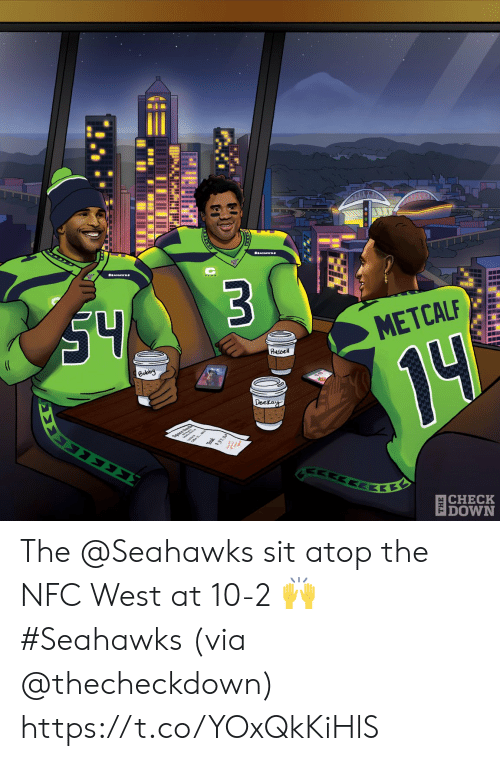 bobby: S4  $3  (C  METCALF  Russel  Bobby  14  Deckay  ΣΣ  37.30  ΕΚΕ  |CHECK  DOWN The @Seahawks sit atop the NFC West at 10-2 🙌 #Seahawks  (via @thecheckdown) https://t.co/YOxQkKiHlS