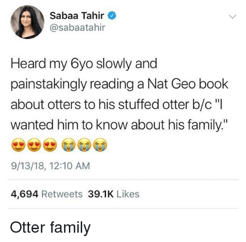 """Otters: Sabaa Tahir  @sabaatahir  Heard my 6yo slowly and  painstakingly reading a Nat Geo book  about otters to his stuffed otter b/c """"I  wanted him to know about his family.""""  9/13/18, 12:10 AM  4,694 Retweets 39.1K Likes Otter family"""