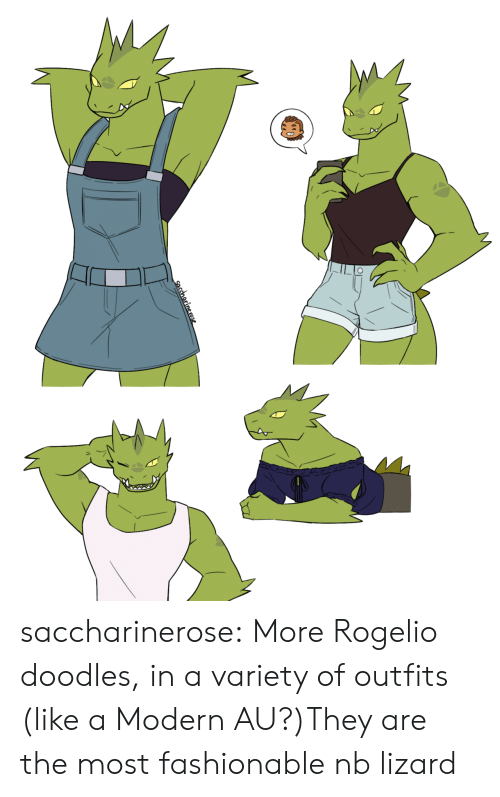 fashionable: saccharinerose:  More Rogelio doodles, in a variety of outfits (like a Modern AU?)They are the most fashionable nb lizard